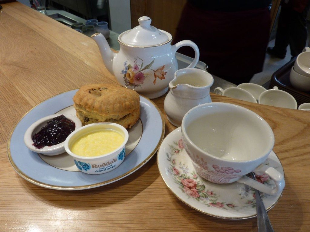 damson jam, Rodda's clotted cream, scones and tea at the Ludlow Kitchen