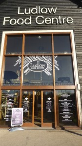Image showing the large glass-clad entrance to the Ludlow Food Centre